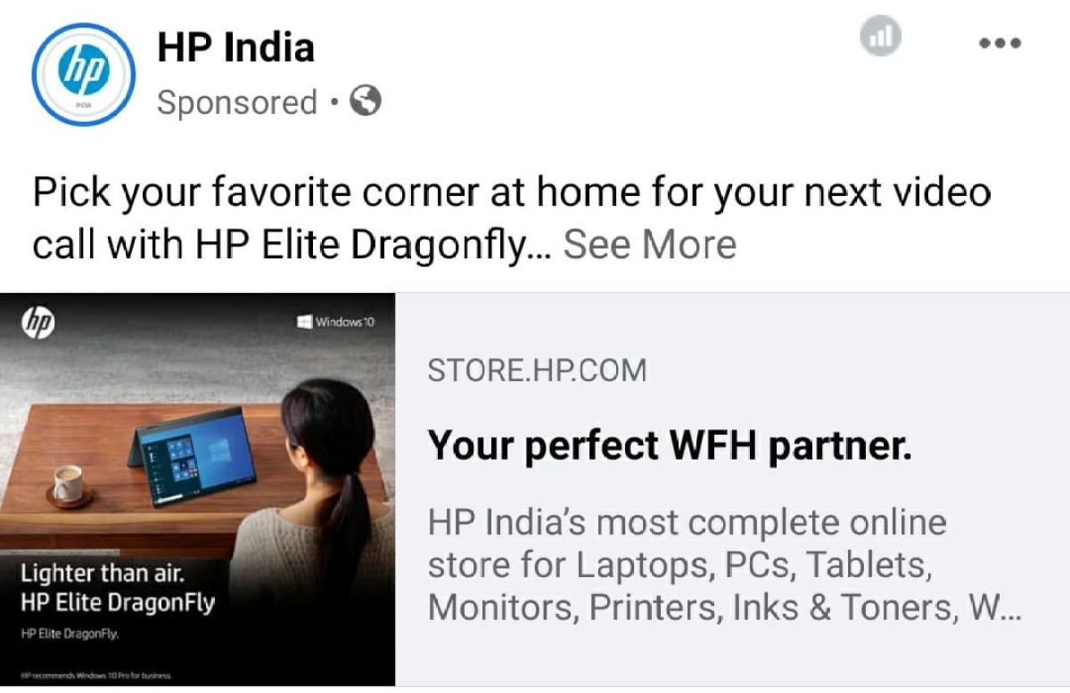 HP's ad on Facebook