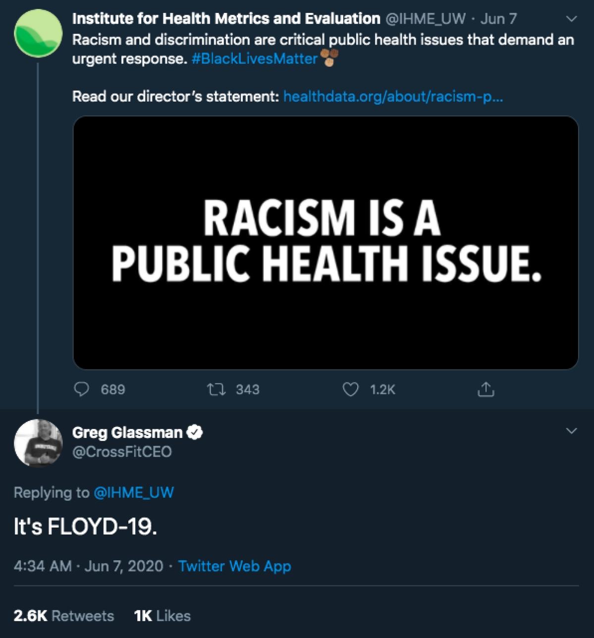 Screenshot of the tweet by Glassman