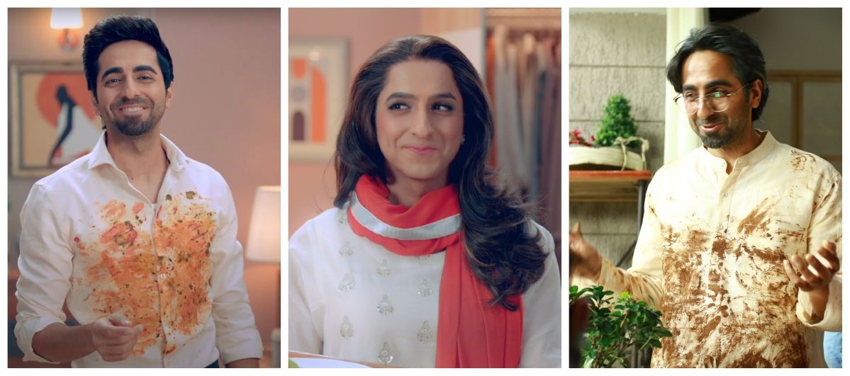 The three characters played by Ayushmann Khurrana in Tide's new ad