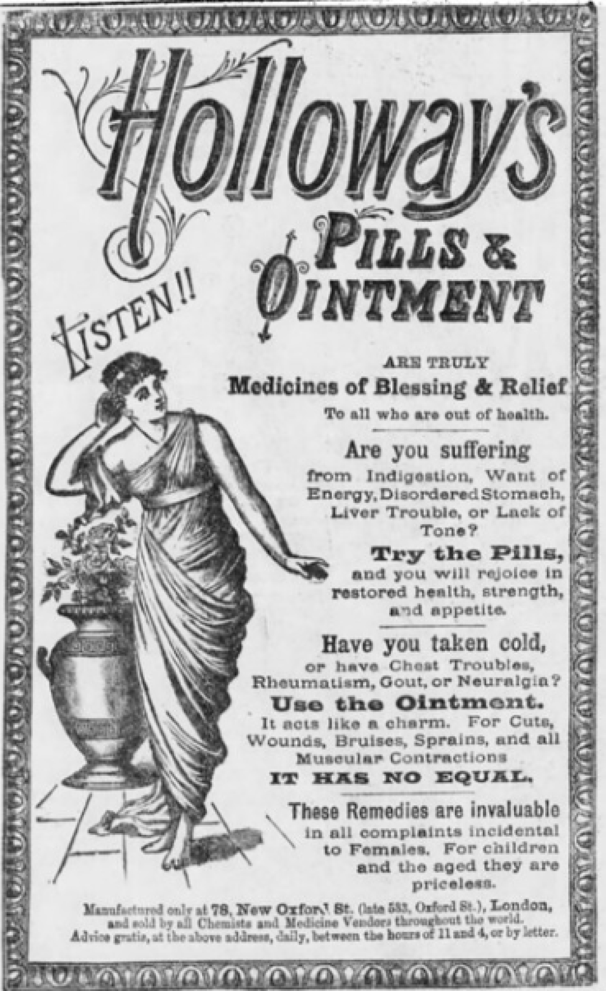 An old ad for Holloway's medicines