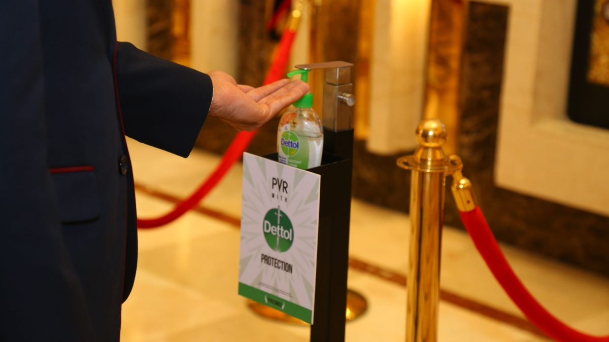 Dettol sanitiser dispenser at PVR