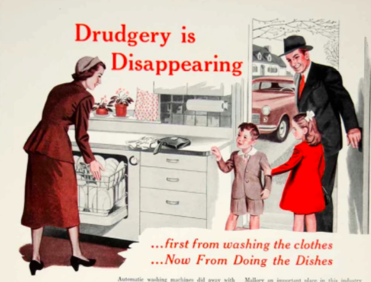 1950 Ad PR Mallory Dishwasher