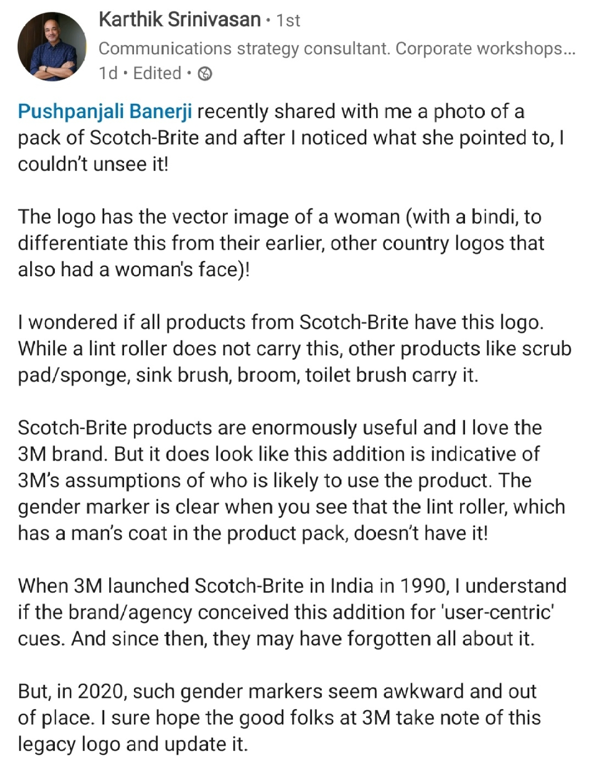 Karthik Srinivasan's post on LinkedIn