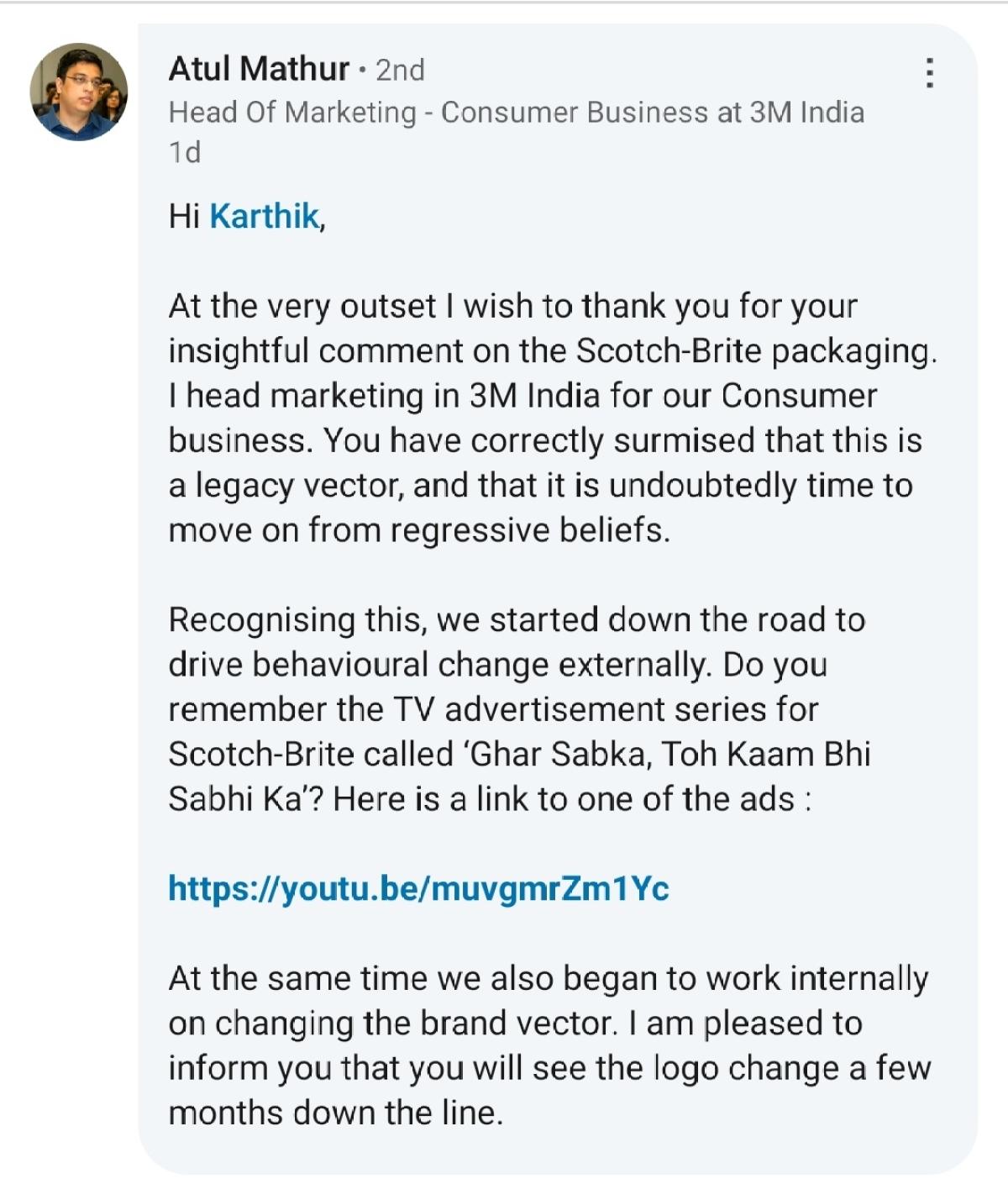 Atul Mathur's response