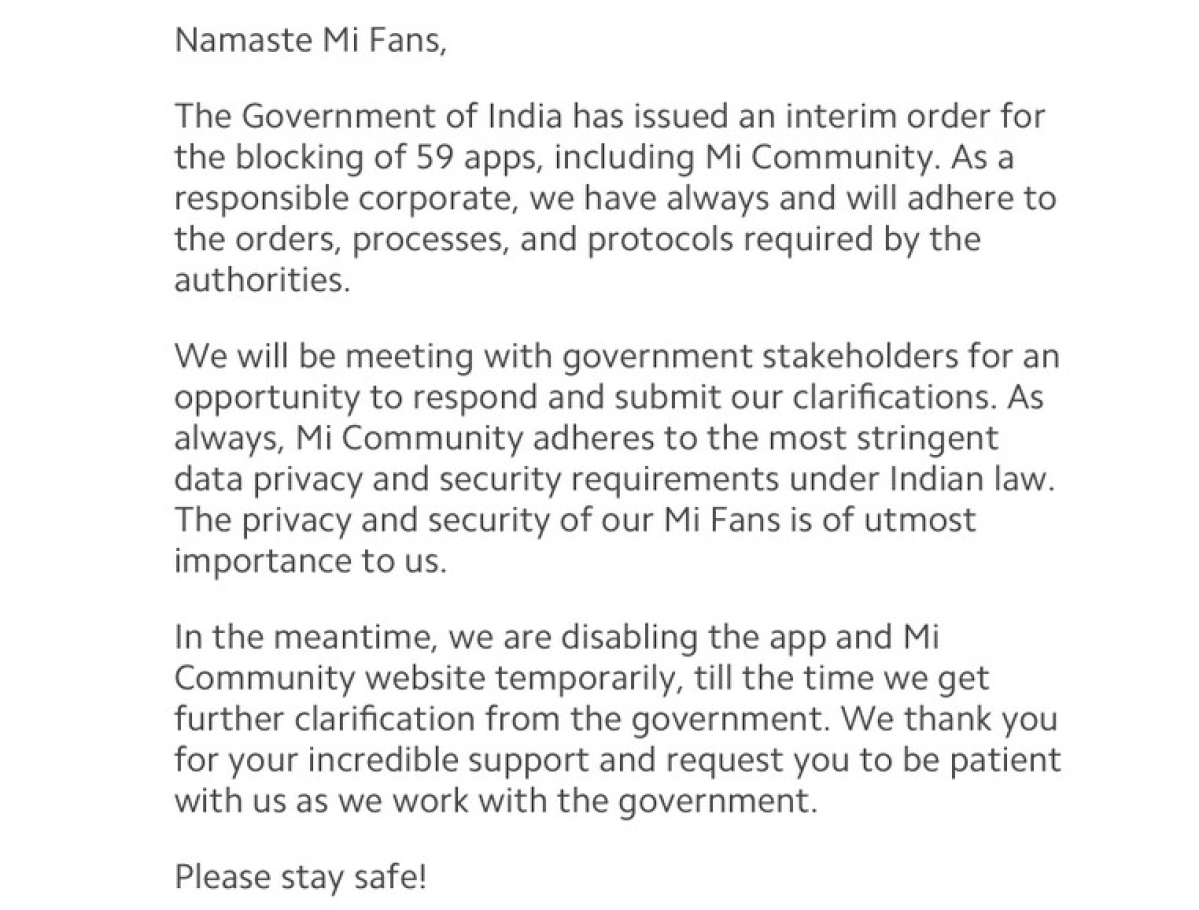 The note on the Mi Community website