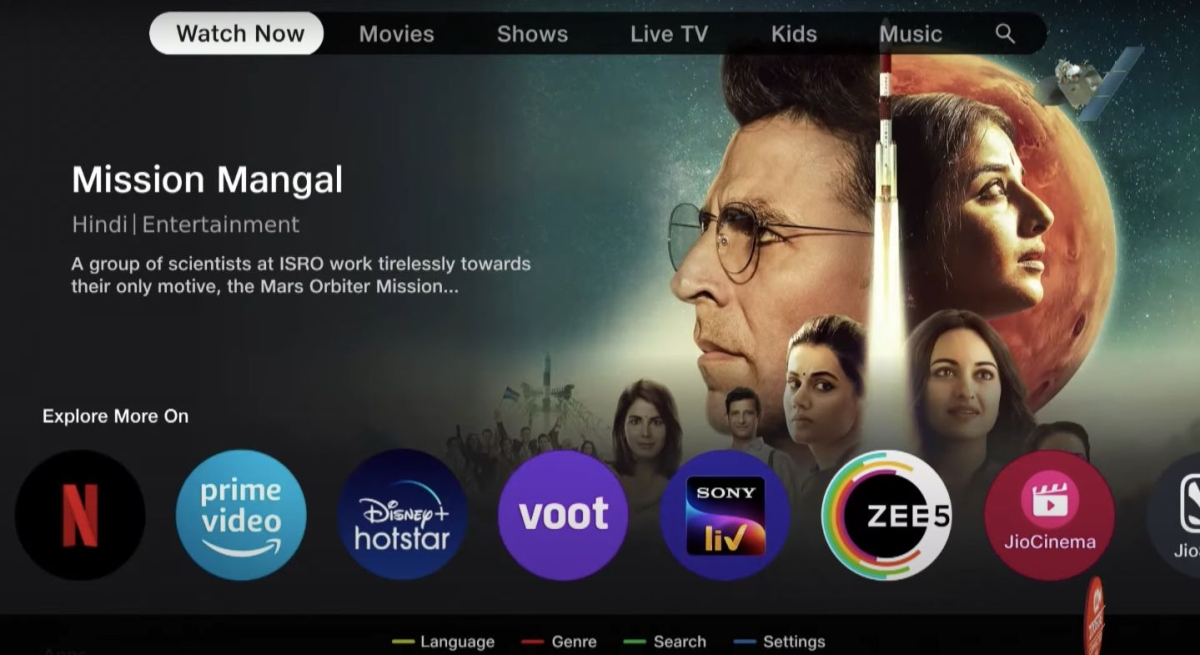 A glimpse of the Jio TV+ interface