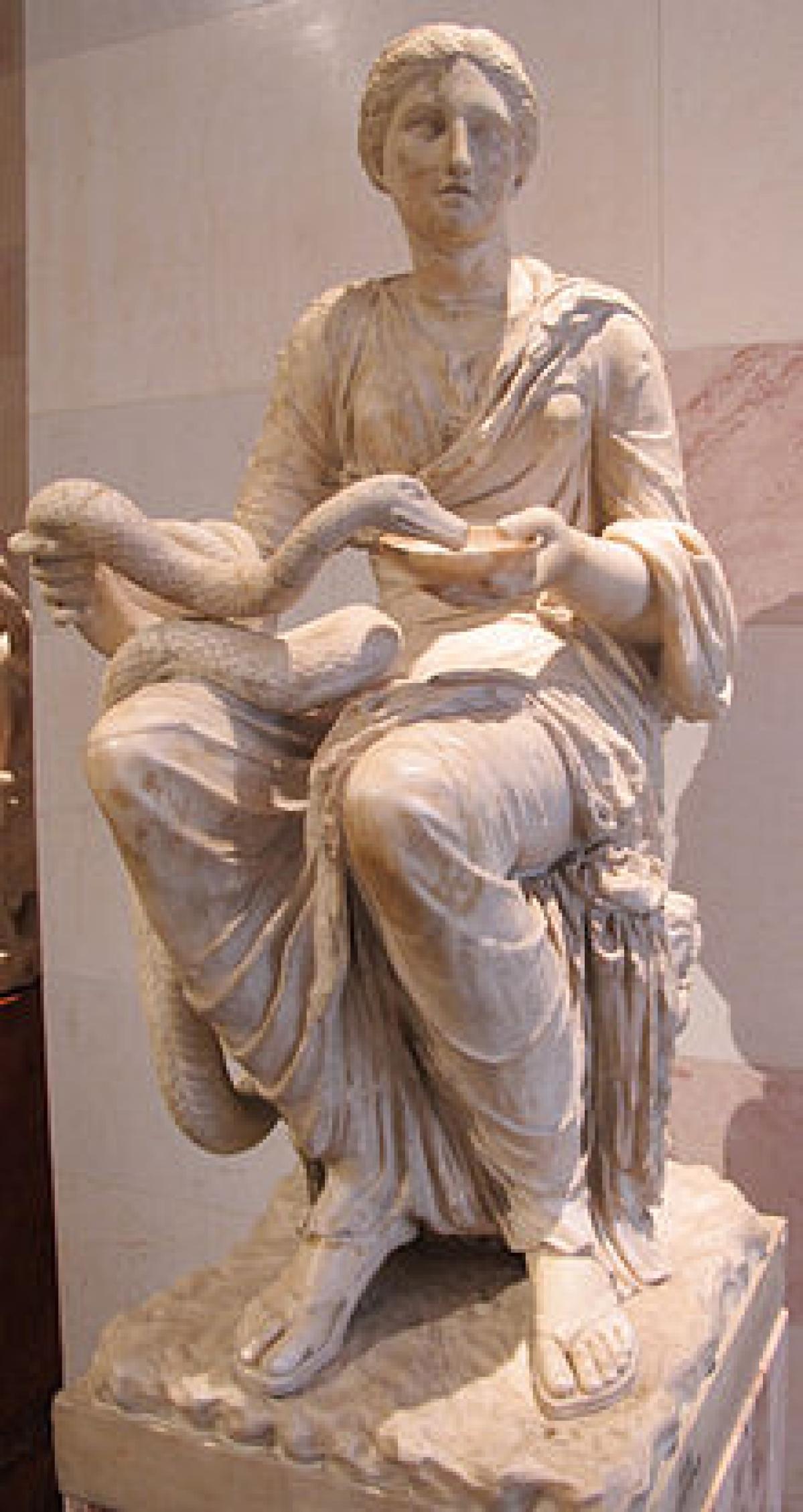 A statue of Goddess Hygieia