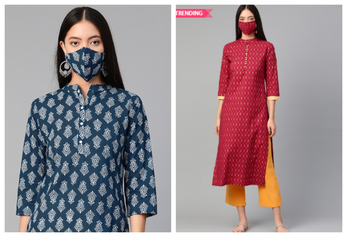 Kurta sets available on Mytra with face masks