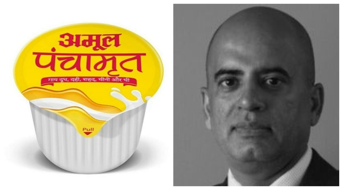 An Amul Panchamrit pack and Vikas Mehta