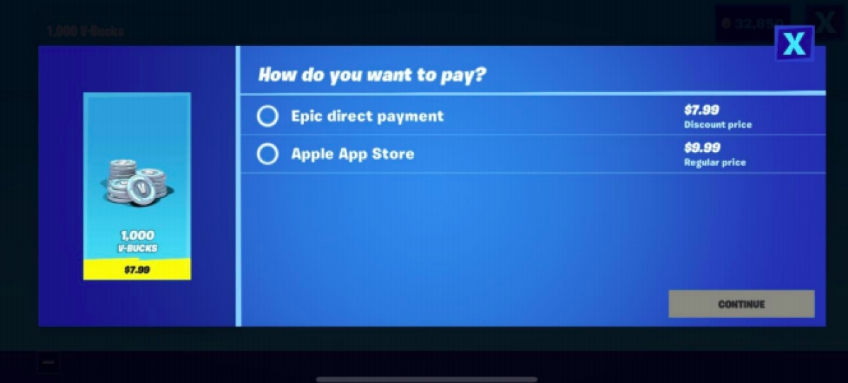 Fortnite's in-app payment system