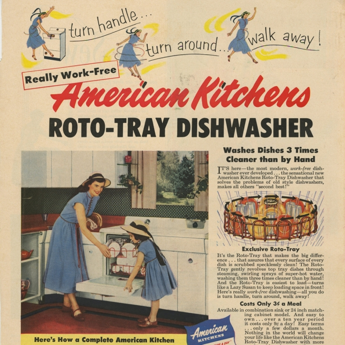1953 print ad for dishwasher
