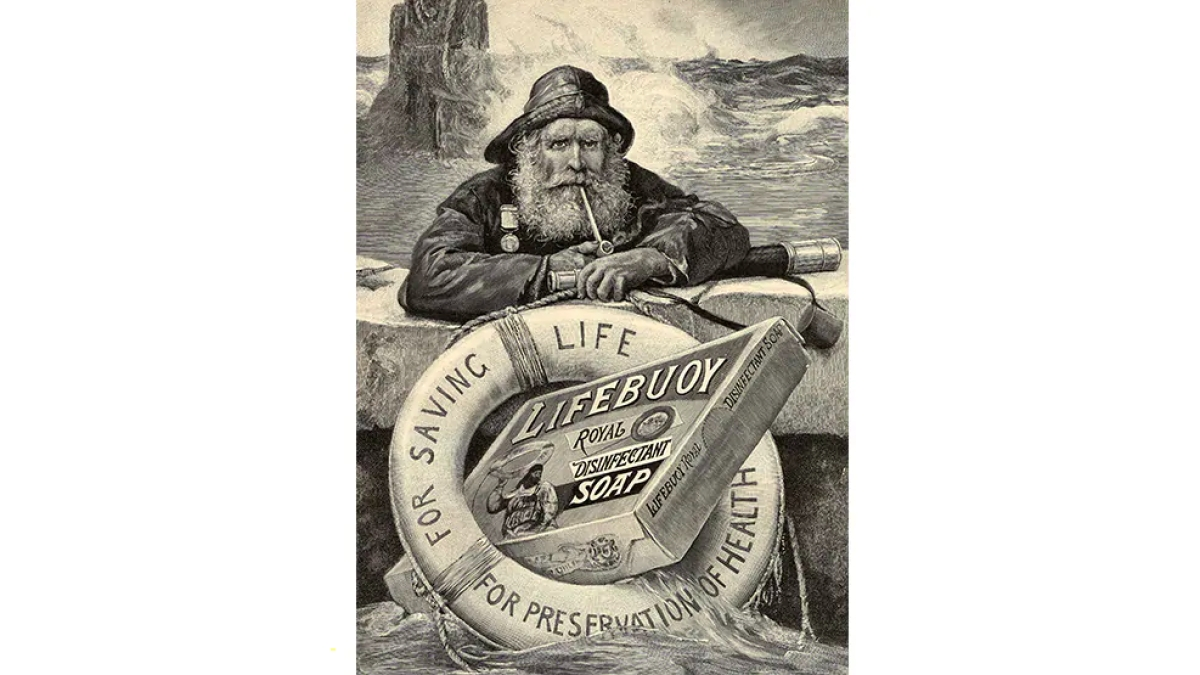 1900 - Early Lifebuoy advertising and packaging often featured the 'lifeboat man'.