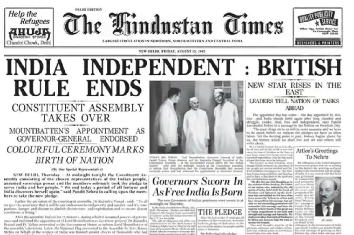 The Hindustan Times edition, August 15, 1947