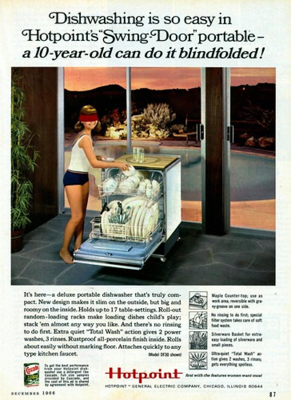 Vintage ad of Hotpoint dishwashers