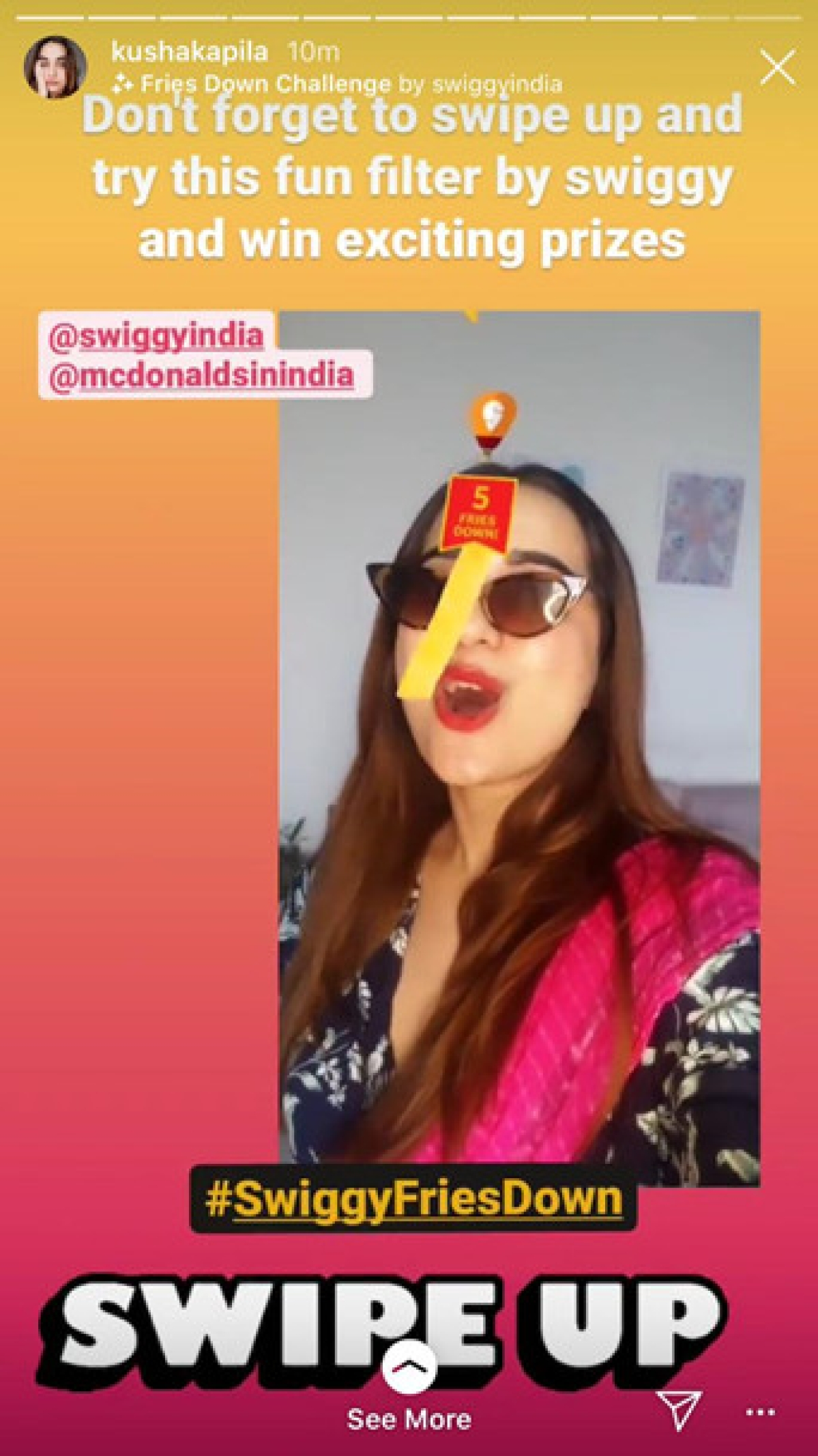 McDonald's launches AR game filter  in partnership with Swiggy