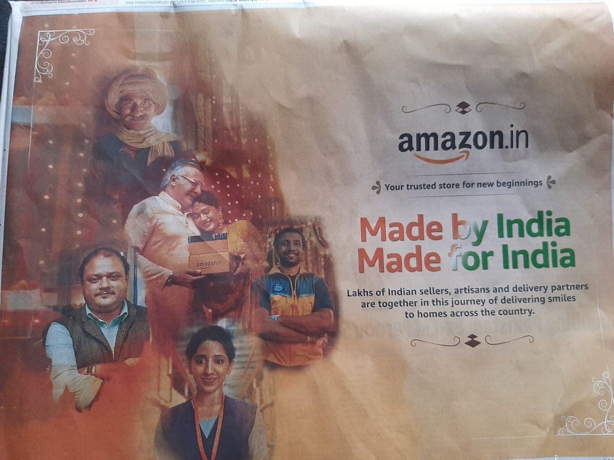Amazon goes the 'atmanirbhar' route with its Made in India, Made for India print ad