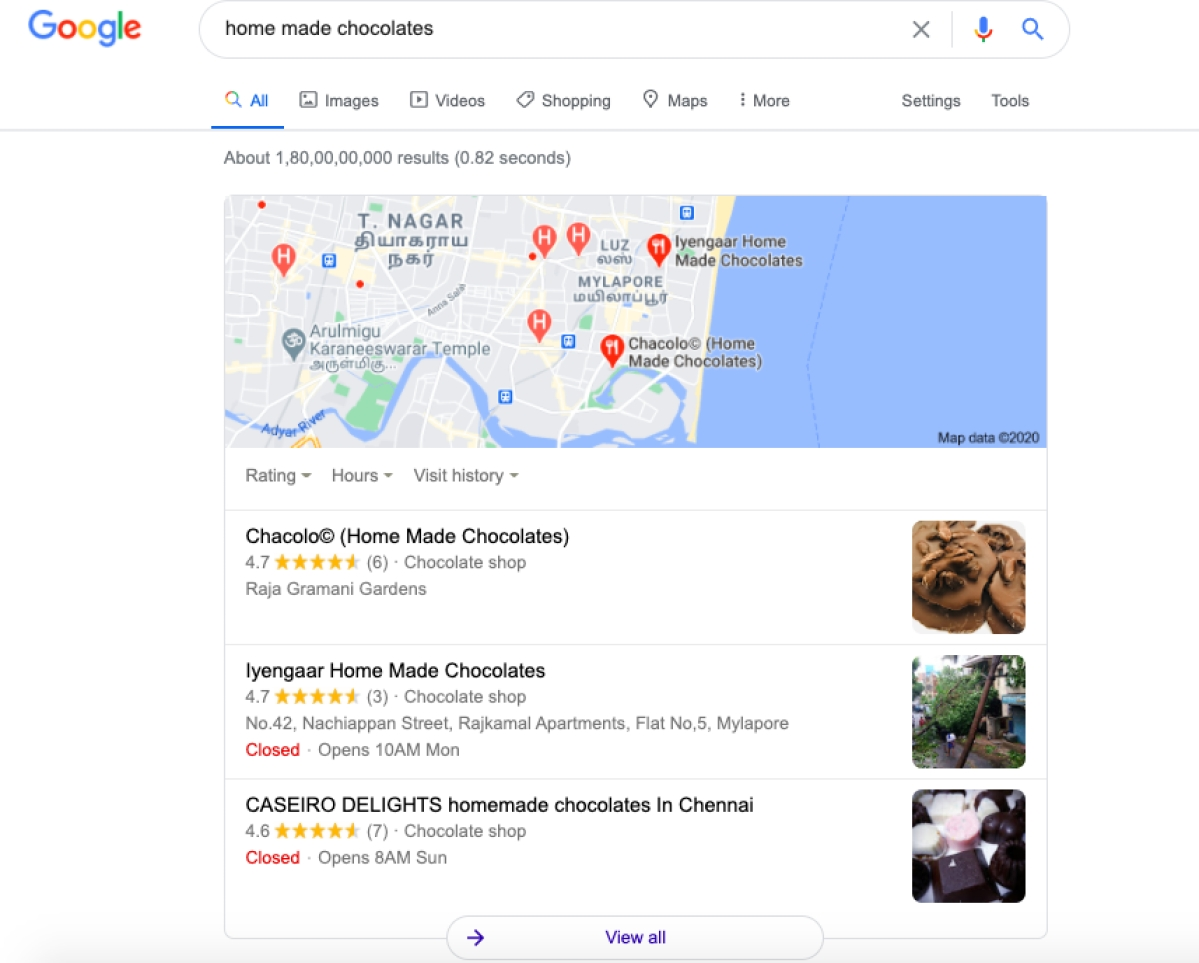 Ads can also use search queries to direct users to relevant small businesses