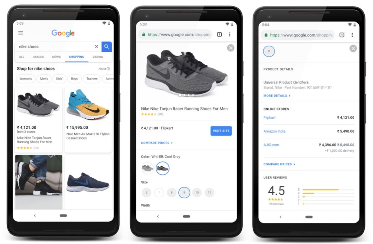 Google's shopping tab