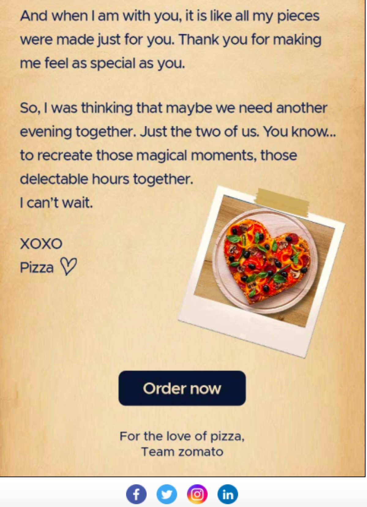 Part 2 of Zomato's love letter from pizza