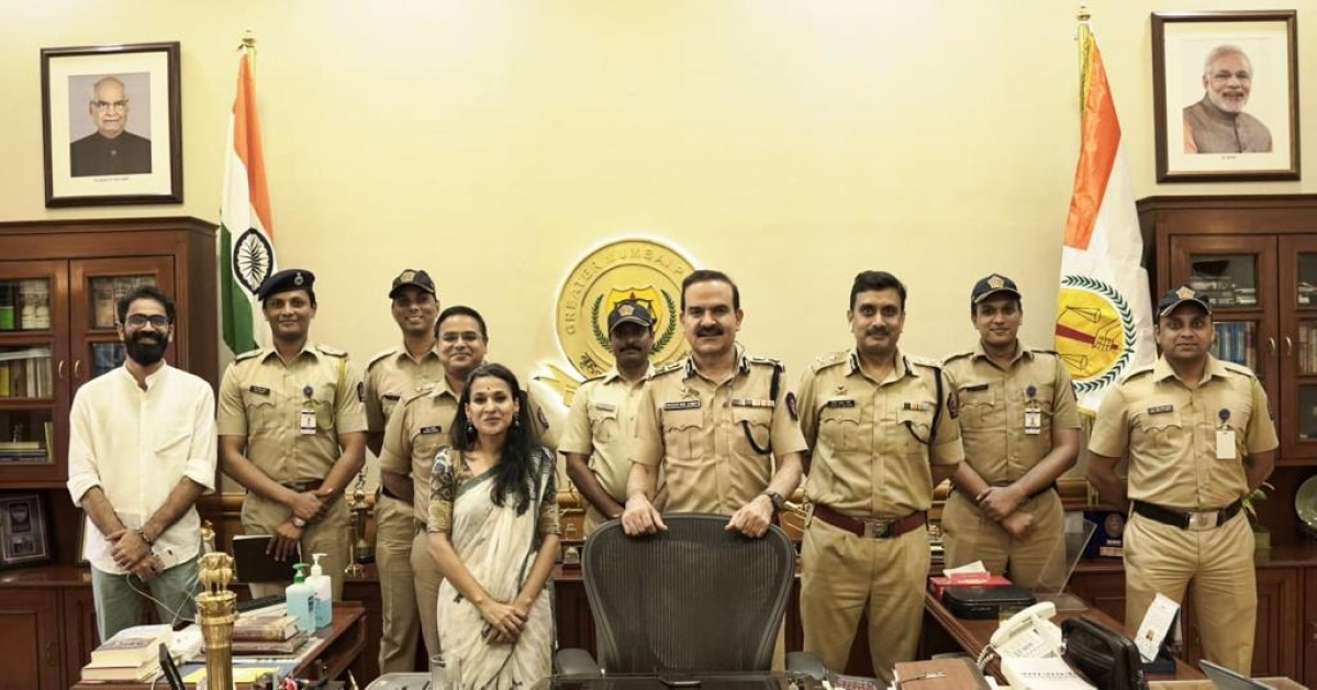 Sunchika Pandey with Param Bir Singh (centre), the incumbent police commissioner of Mumbai
