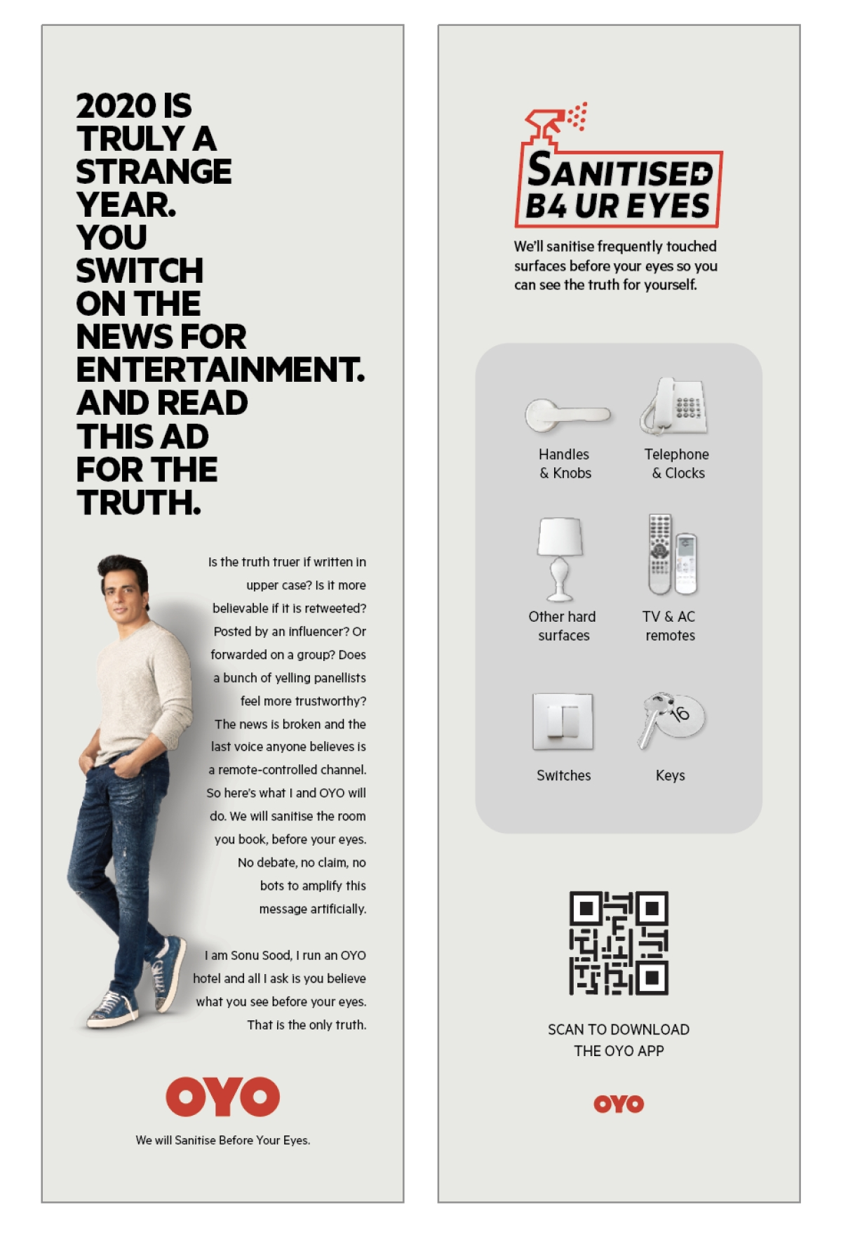 OYO Hotels & Homes ropes in Sonu Sood as the face of its 'Sanitised Before Your Eyes' campaign