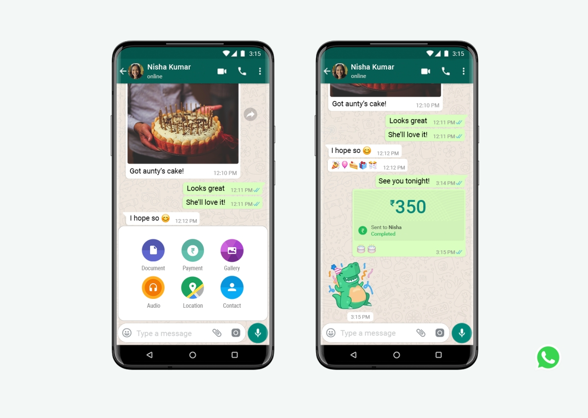 A glimpse of WhatsApp payment's interface