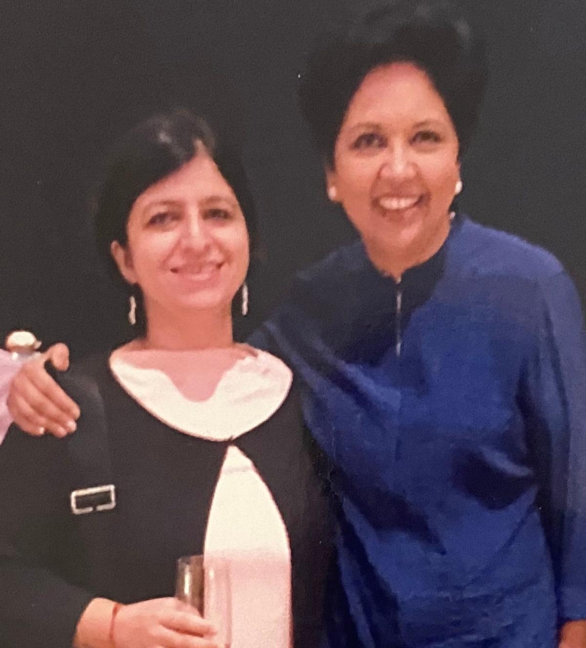 Poonam Kaul (L) with Indra Nooyi