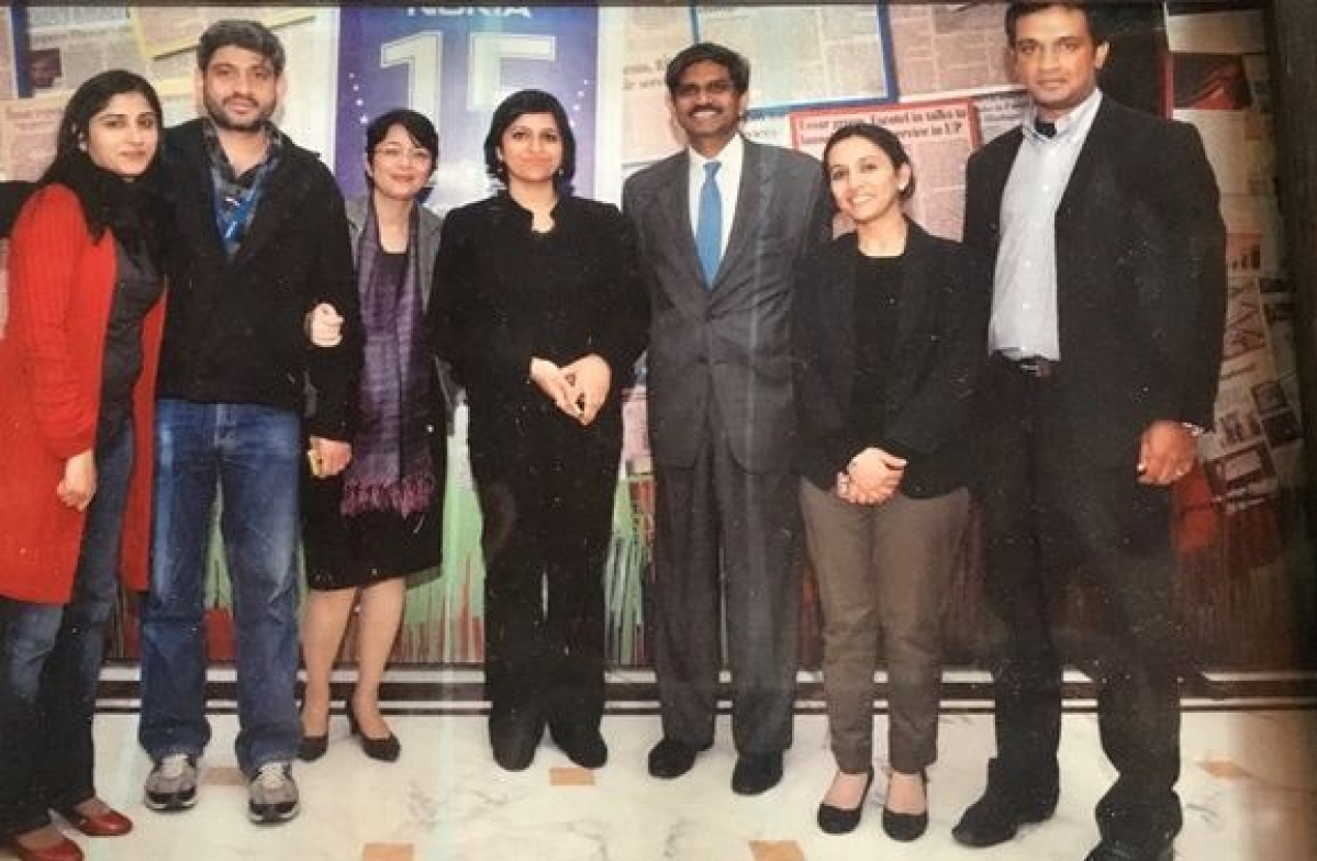 Poonam Kaul (centre) with Shiv Shivakumar (right of Kaul) at Nokia.