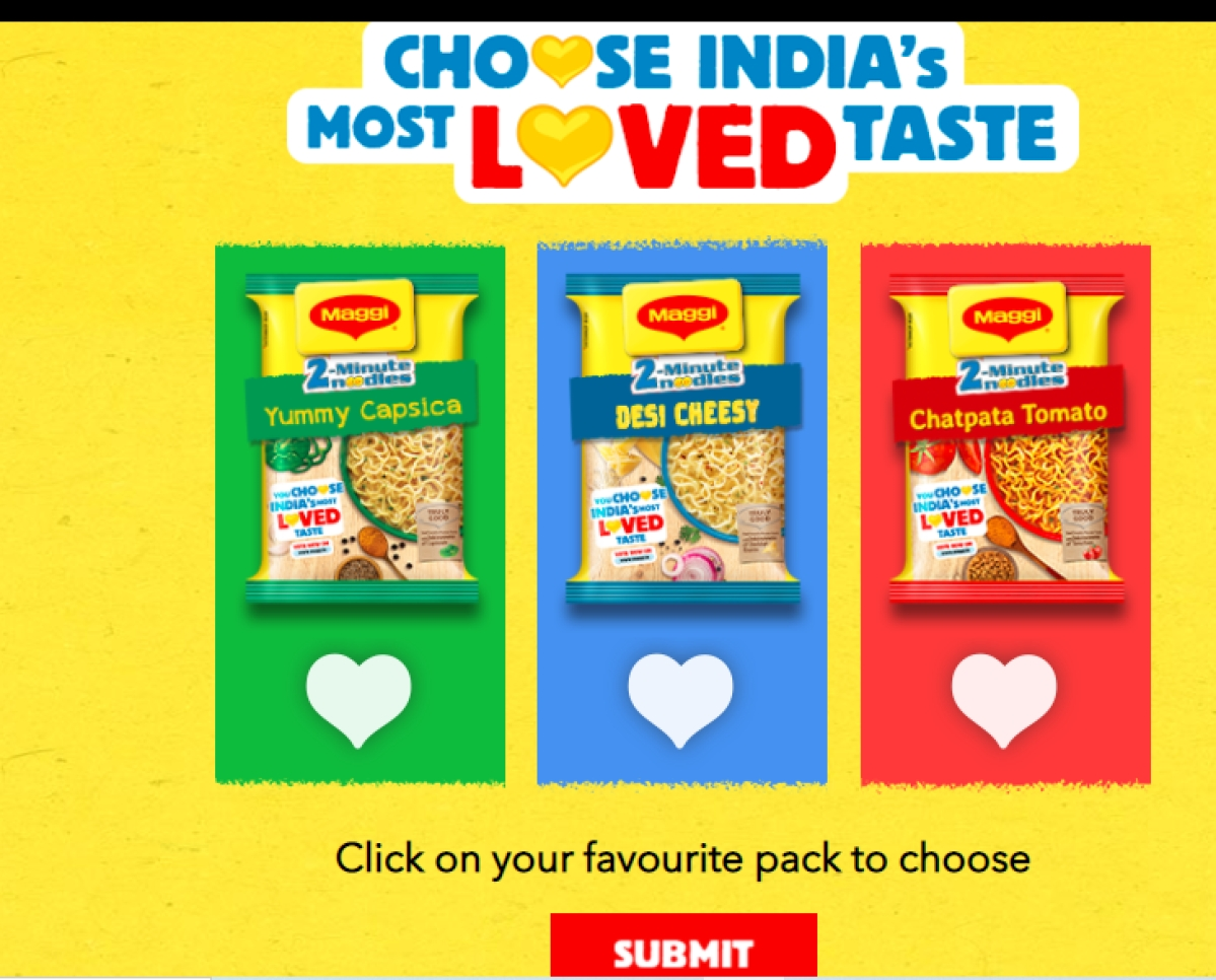 Maggi wants you to vote for the best of its three flavours
