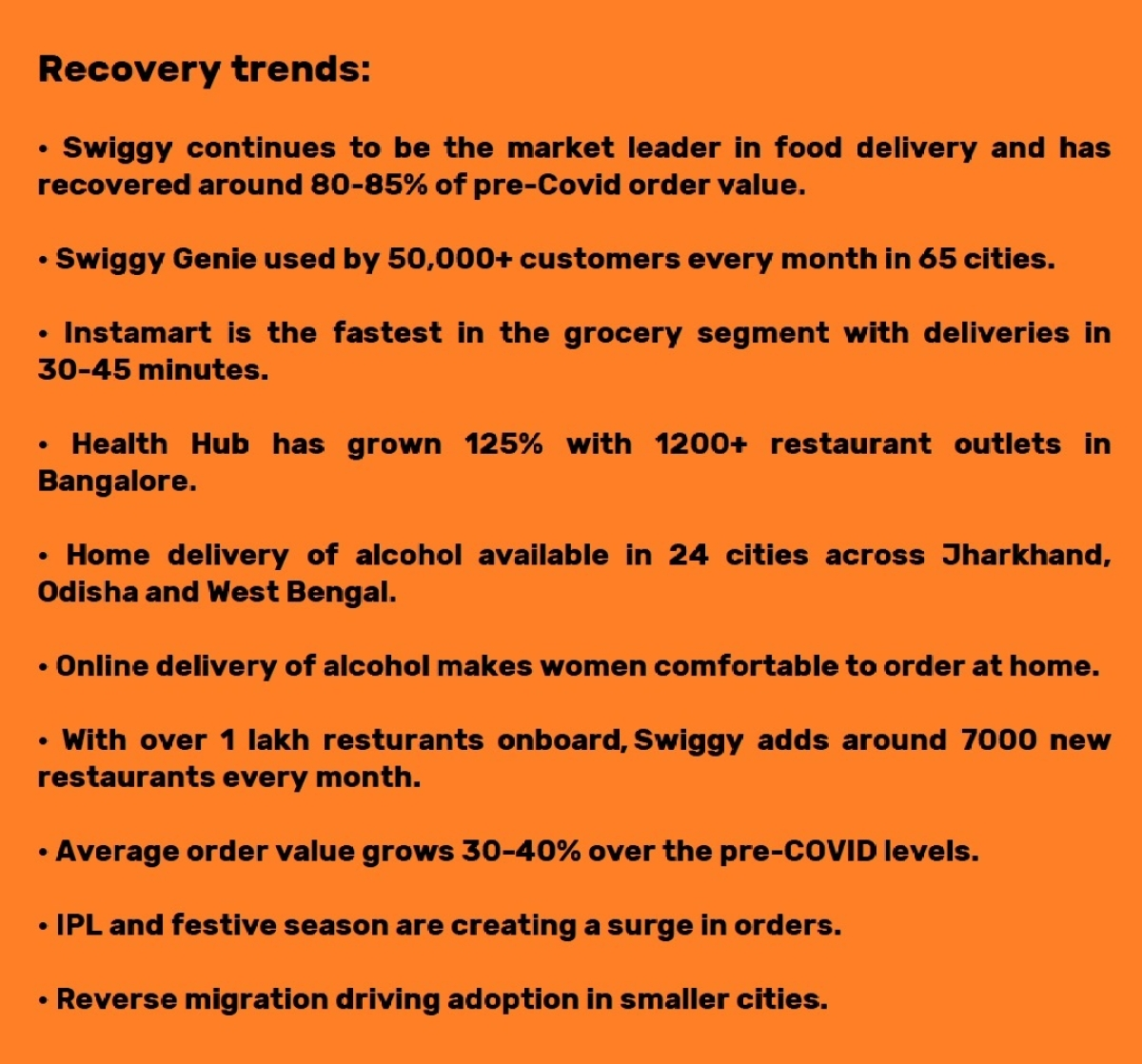 Recovery trends