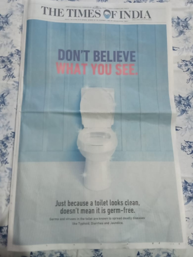 Domex's print ad had The Times of India smell like a freshly cleaned toilet