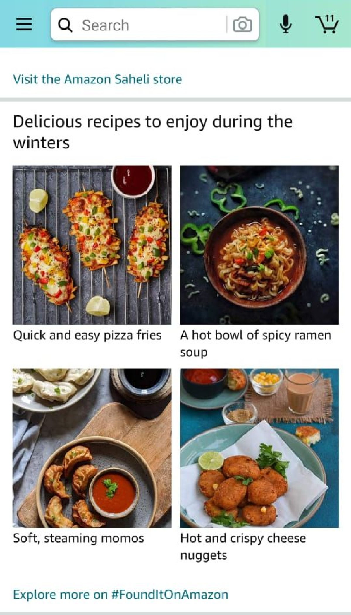 Photos of French fries, noodles and momos... on the Amazon shopping app?