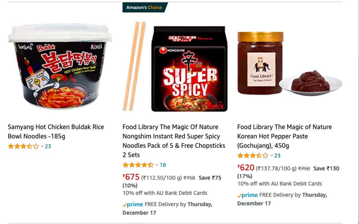 Korean Food on Amazon