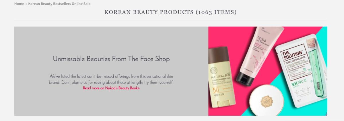 Korean skincare on Nykaa