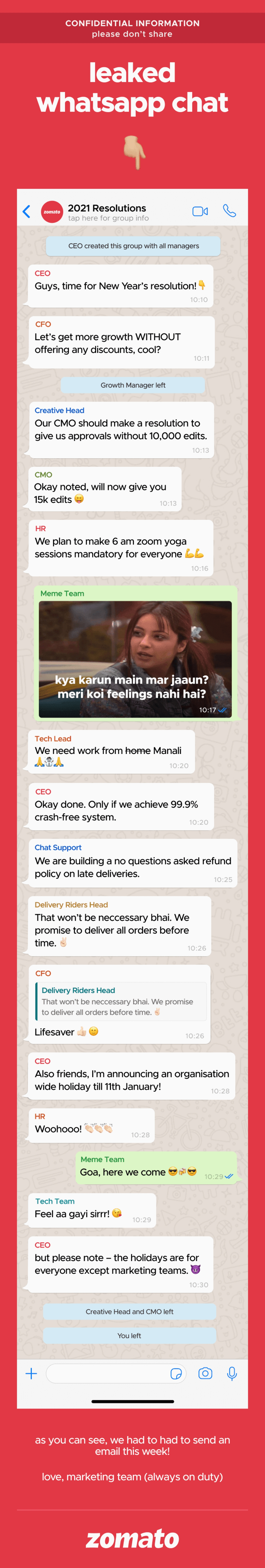 """Zomato 'leaks' """"confidential"""" marketing WhatsApp chat in mailer campaign"""