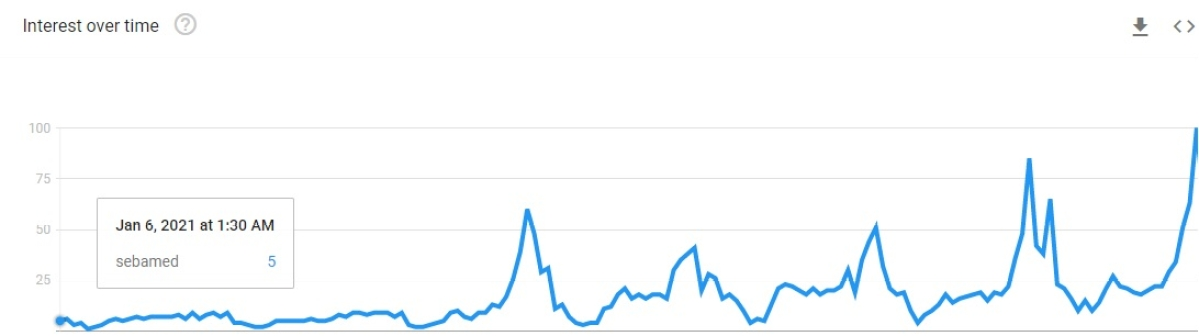 Interest in Sebamed over time, as reflected on google trends