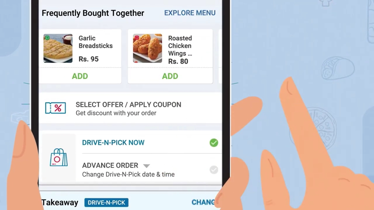 Home delivery-led pizza brand Domino's advertises 'drive and pick' service