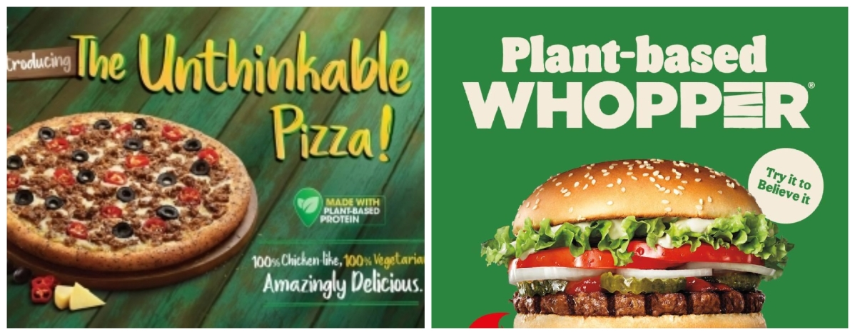Dominos plant meat pizza and vegan Whopper