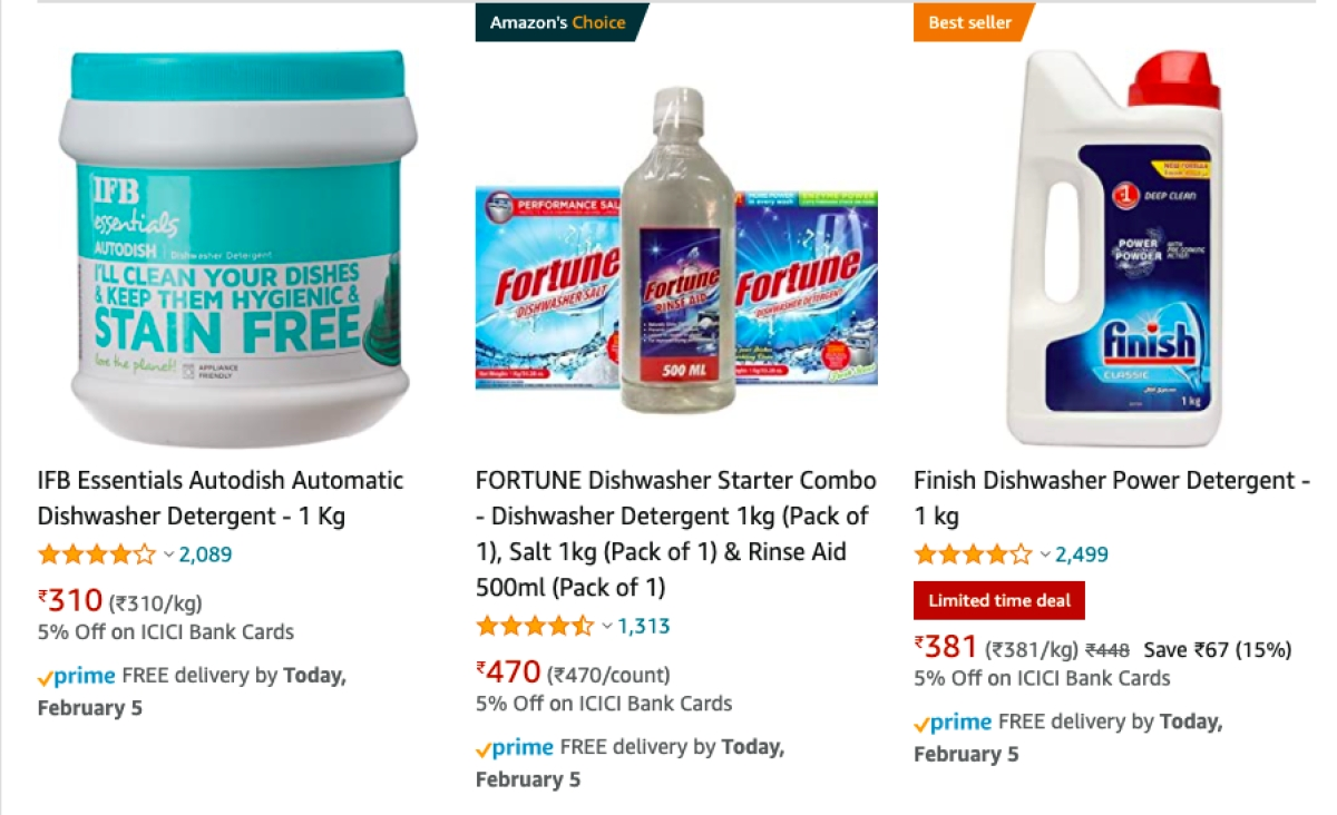 Results for the search 'dishwasher detergent' on Amazon