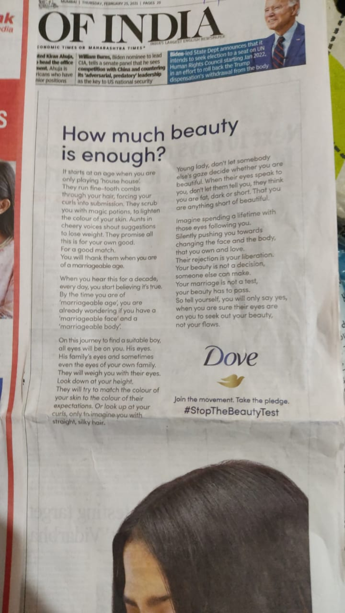 Dove soap calls out pre-marriage scrutiny of bride's weight, height, colour, hair; takes 'Real Beauty' stance ahead