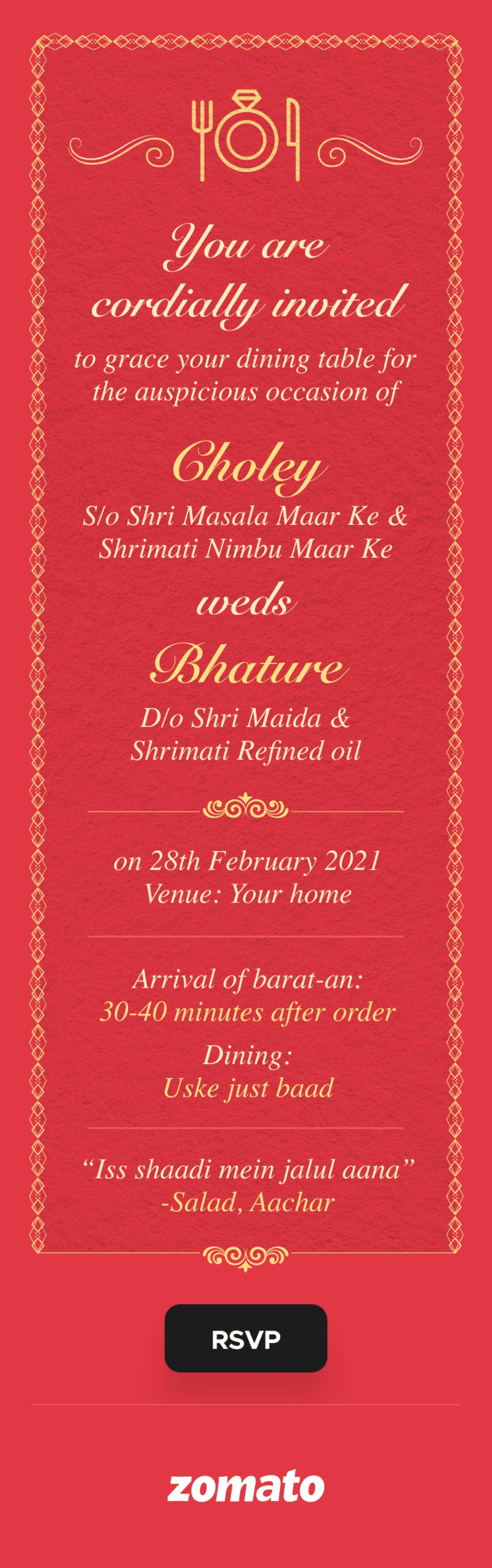 Zomato invites you to Bhature and Chole's wedding...
