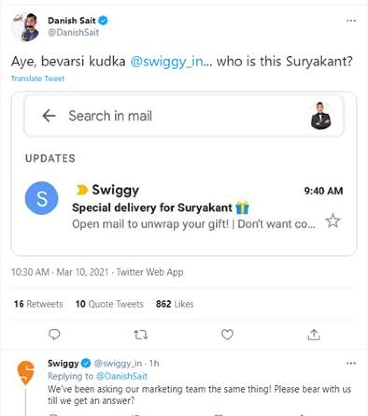 Why is Swiggy addressing all its users as 'Suryakant'?