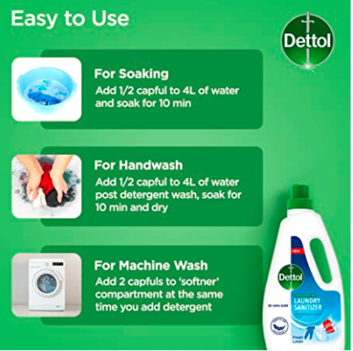 Dettol's new ads place its laundry sanitiser as part of daily laundry cycle