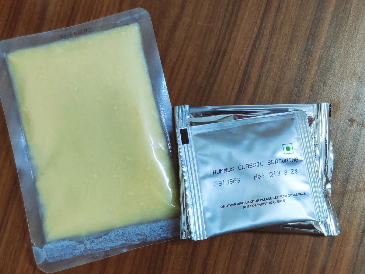 Sundrop hummus comes with three sachets inside