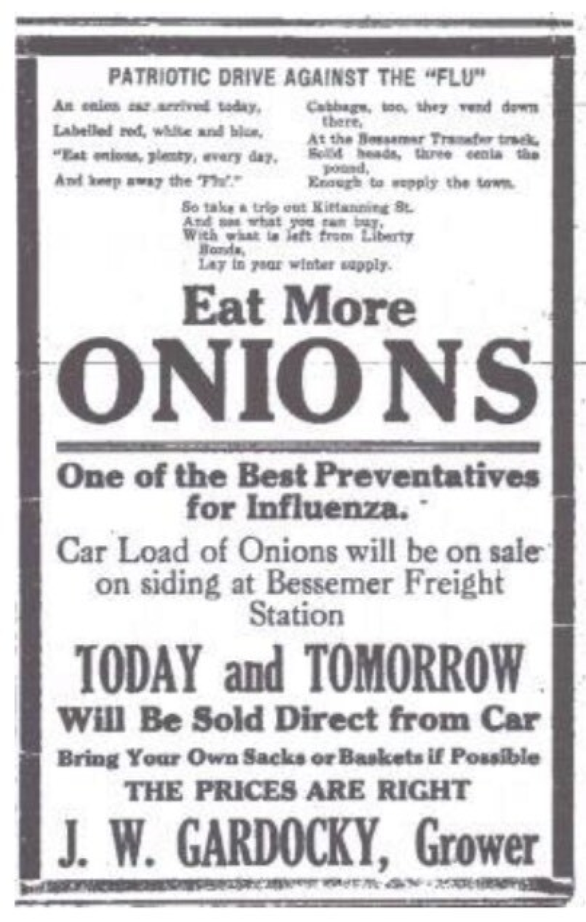 An ad for an onion sale