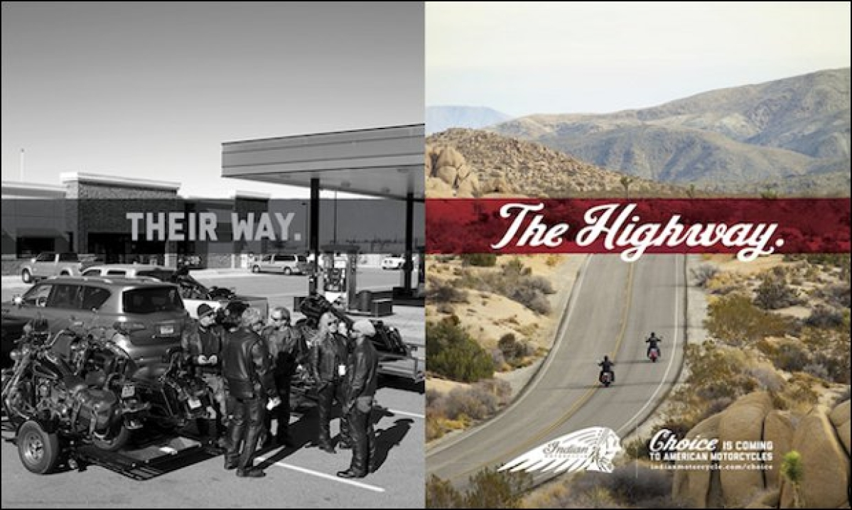 Indian Motorcycle mocks Harley Davidson: competitive ad done well