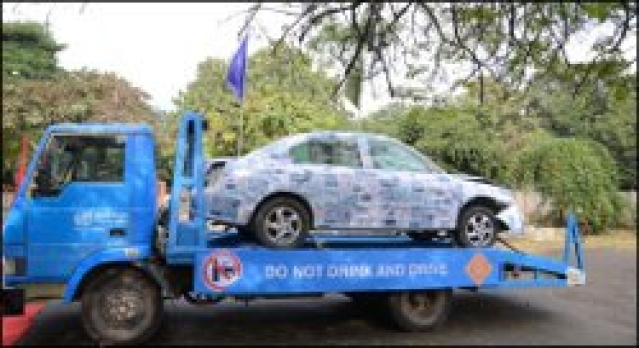 Crumpled car carries road safety message