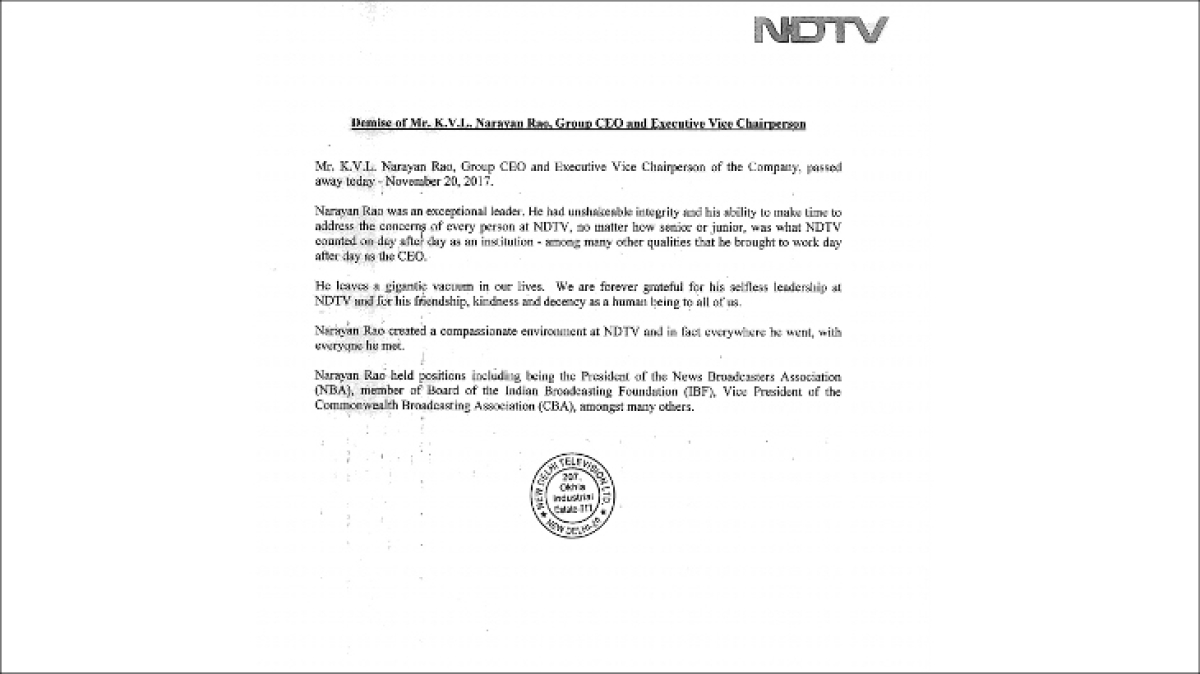 NDTV Group CEO and executive vice chairperson KVL Narayan Rao is no more