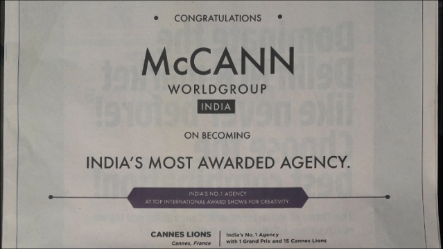 McCann shows off awards glory in print ad