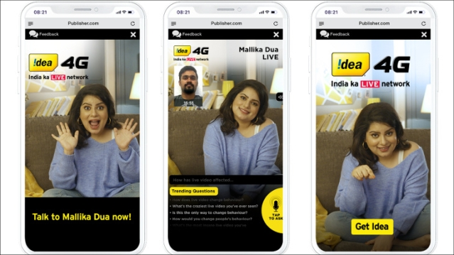 You can interview Mallika Dua through Idea's video chat bot...